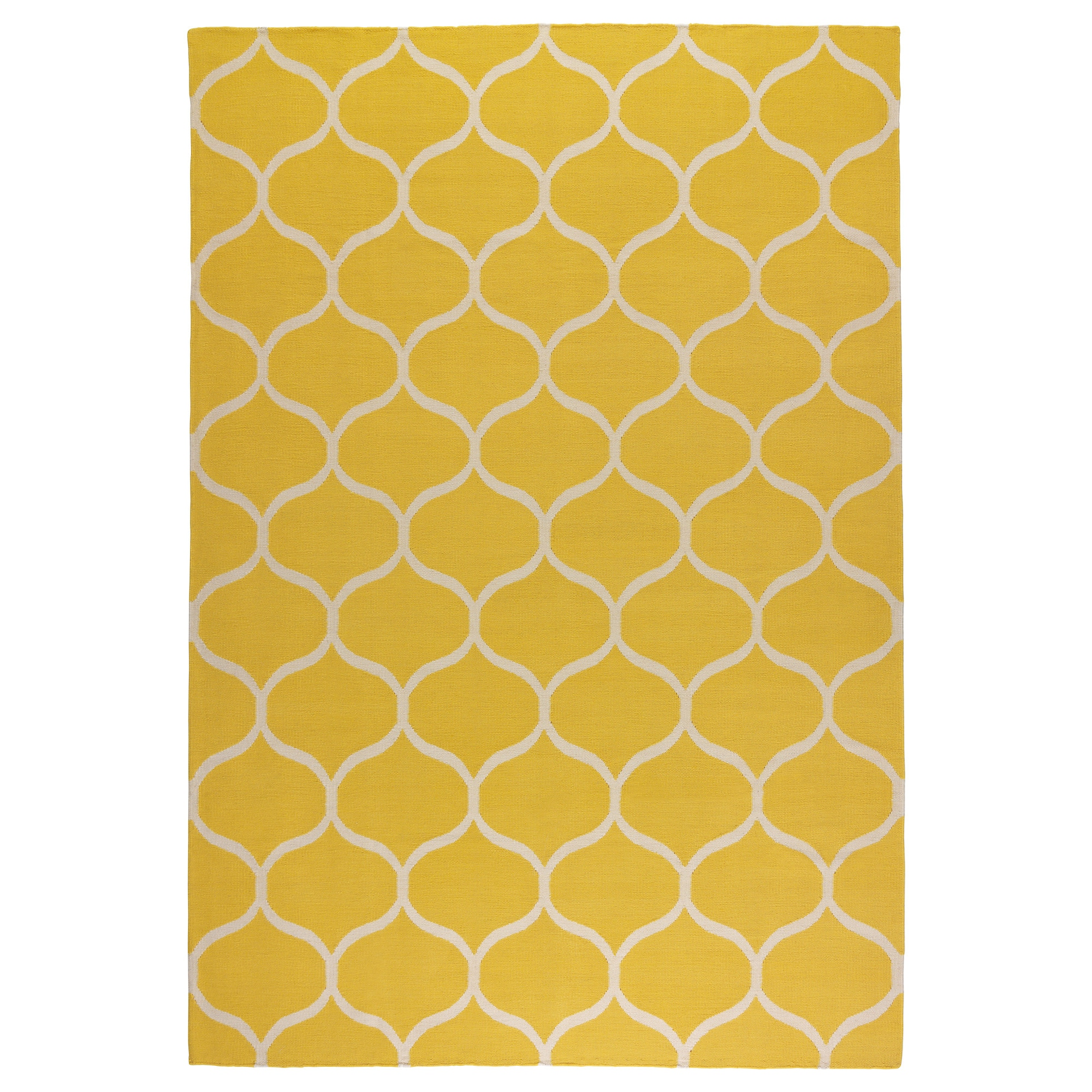 STOCKHOLM rug, flatwoven, net pattern handmade, net pattern yellow yellow  Length: 7