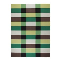 STOCKHOLM rug, flatwoven, green chequered green, handmade chequered Length: 350 cm Width: 250 cm Area: 8.75 m²