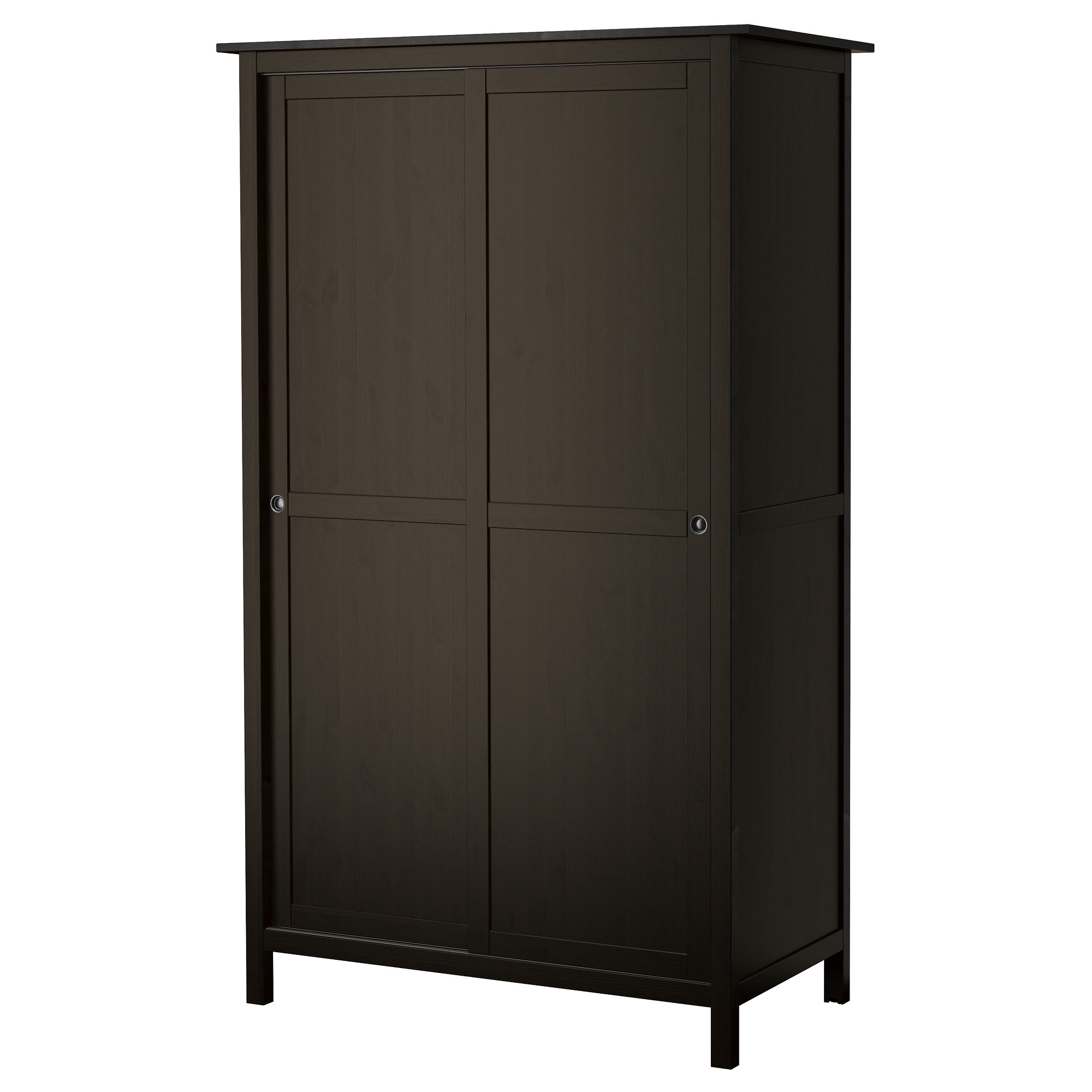 HEMNES Wardrobe With 2 Sliding Doors, Black Brown Width: 47 1/4
