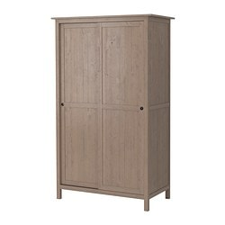 HEMNES wardrobe with 2 sliding doors, grey-brown Width: 120.0 cm Depth: 59 cm Height: 197.0 cm