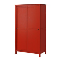 HEMNES wardrobe with 2 sliding doors, red Width: 120.0 cm Depth: 59 cm Height: 197.0 cm
