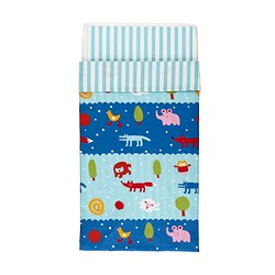 BARNSLIG NATTEN quilt cover/pillowcase for cot, multicolour Quilt cover length: 125 cm Quilt cover width: 110 cm Pillowcase length: 35 cm