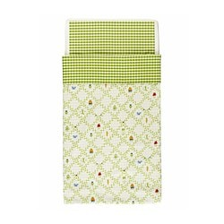 TORVA BLAD quilt cover/pillowcase for cot, green Quilt cover length: 125 cm Quilt cover width: 110 cm Pillowcase length: 35 cm
