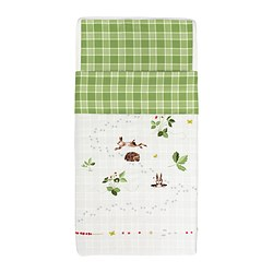 "VANDRING IGELKOTT crib duvet cover/pillowcase, green/brown Duvet cover length: 49 "" Duvet cover width: 43 "" Pillowcase length: 22 "" Duvet cover length: 125 cm Duvet cover width: 110 cm Pillowcase length: 55 cm"