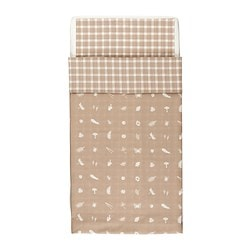 VANDRING SKOG quilt cover/pillowcase for cot, beige Quilt cover length: 125 cm Quilt cover width: 110 cm Pillowcase length: 55 cm