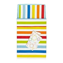 VITAMINER RAND 4-piece bedlinen set for cot, multicolour Length: 132 cm Width: 70 cm