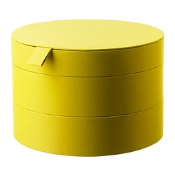 "PALLRA box with lid, dark yellow Diameter: 8 ¾ "" Height: 6 "" Diameter: 22 cm Height: 15 cm"