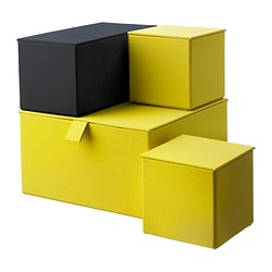 PALLRA set di 4 scatole con coperchio, giallo scuro