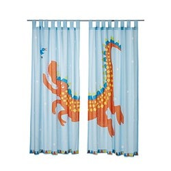 "HELTOKIG pair of curtains, light blue Length: 69 "" Width: 47 "" Package quantity: 2 pack Length: 175 cm Width: 120 cm Package quantity: 2 pack"