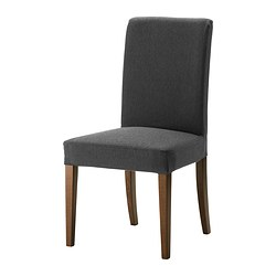 HENRIKSDAL chair, Dansbo dark grey, brown Tested for: 110 kg Width: 51 cm Depth: 58 cm
