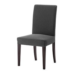 HENRIKSDAL chair, Dansbo dark grey, brown-black Tested for: 110 kg Width: 51 cm Depth: 58 cm