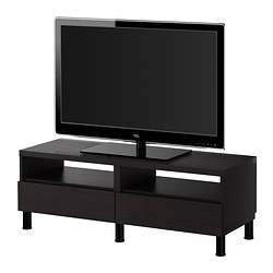 BESTÅ TV bench with drawers, black-brown Width: 120 cm Depth: 40 cm Height: 42 cm