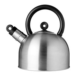 VATTENTÄT kettle, black, stainless steel Volume: 2 l