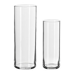 CYLINDER vase, set of 2, clear glass