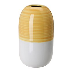 KNAPRIG vase, yellow, white Height: 14 cm