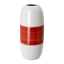 KNAPRIG vase, red, white Height: 27 cm