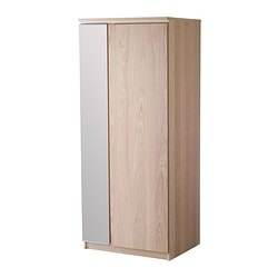 RANSBY wardrobe, white stained oak Width: 80 cm Depth: 61 cm Height: 190 cm