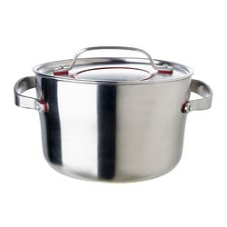 "SENSUELL pot with lid, stainless steel Diameter: 9 "" Height: 6 "" Volume: 5 qt Diameter: 24 cm Height: 15 cm Volume: 4.5 l"