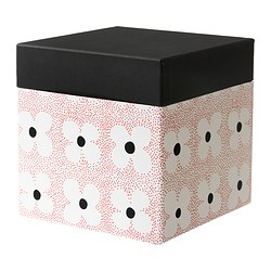 KVITTRA box with lid, red, flower Width: 20 cm Depth: 20 cm Height: 20 cm