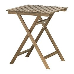 ASKHOLMEN table, outdoor, grey-brown foldable grey-brown stained Length: 62 cm Width: 60 cm Height: 73 cm