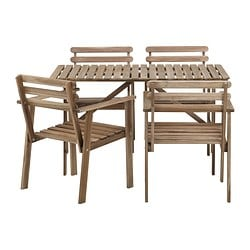ASKHOLMEN table+4 chairs w armrests, outdoor, grey-brown grey-brown stained
