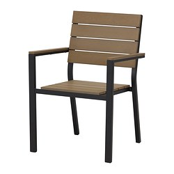 FALSTER chair with armrests, brown, black Width: 59 cm Depth: 61 cm Height: 86 cm