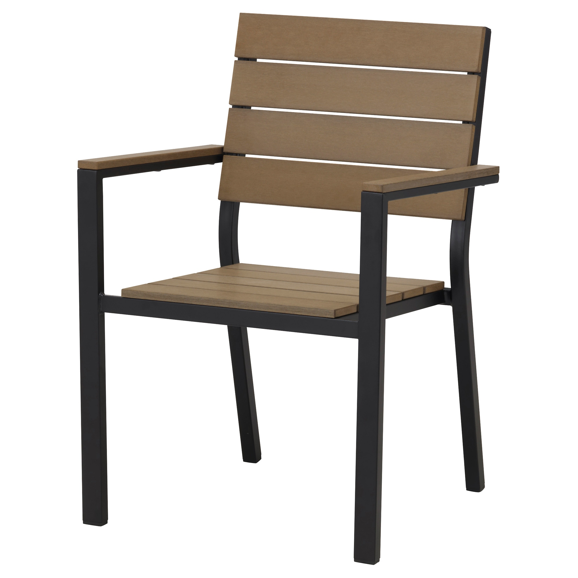 Wooden chairs with armrest - Falster Armchair Outdoor Black Brown Width 23 1 4 Depth