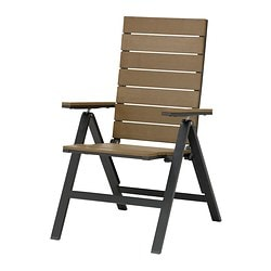 FALSTER reclining chair, outdoor, black foldable black, brown Width: 60 cm Depth: 69 cm Height: 104 cm