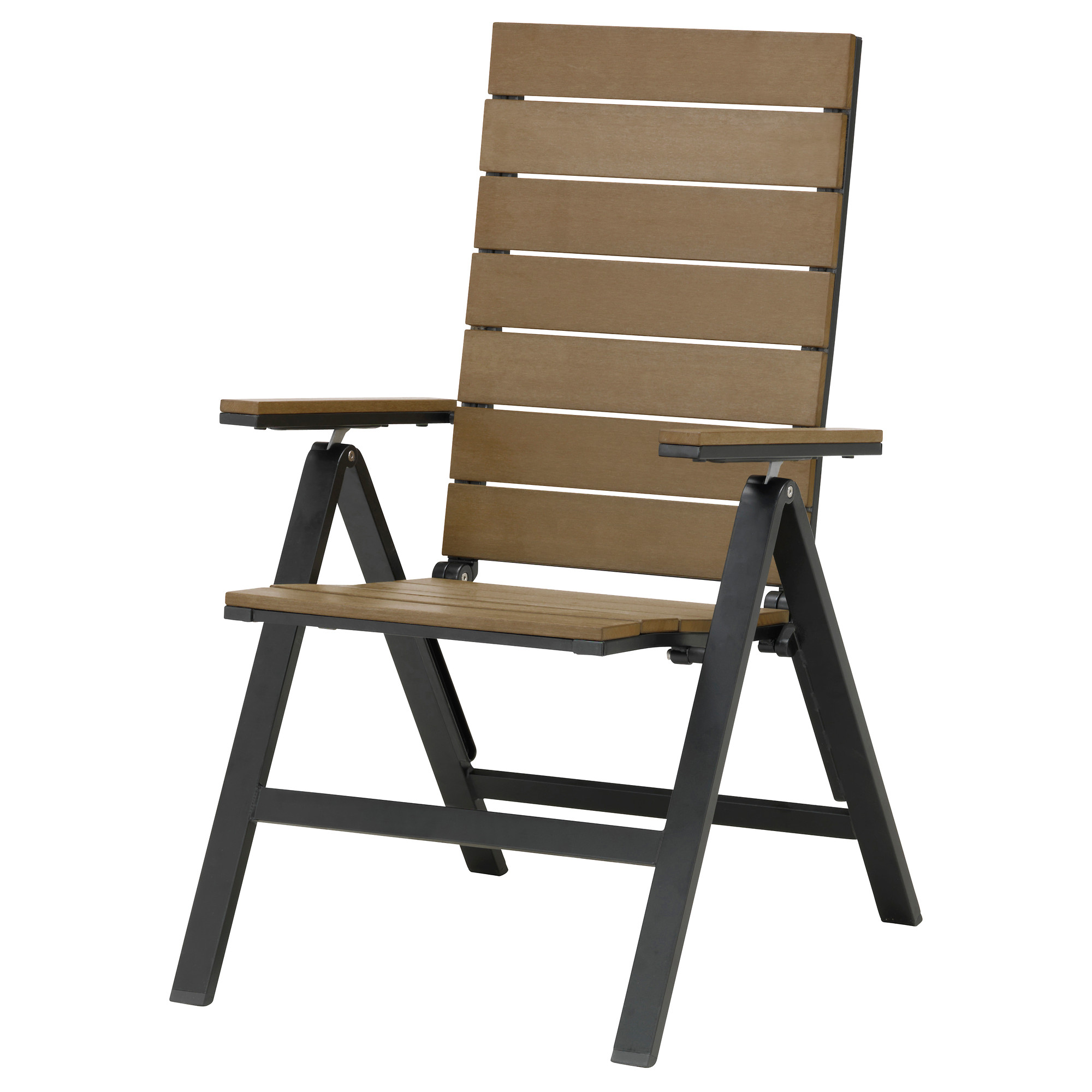 Outdoor foldable chairs - Falster Reclining Chair Outdoor Foldable Black Black Brown Width 23 5