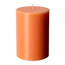 FLORERA FIN unscented block candle, orange Diameter: 7 cm Height: 10 cm Burning time: 30 hr