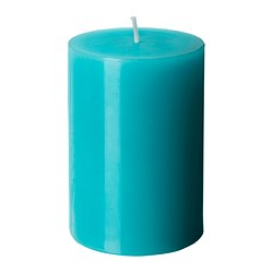"FLORERA FIN unscented block candle, turquoise Diameter: 2 ¾ "" Height: 4 "" Burning time: 30 hr Diameter: 7 cm Height: 10 cm Burning time: 30 hr"