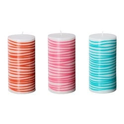 "SOMMARMYS unscented block candle, assorted colors Diameter: 2 ¾ "" Height: 5 ½ "" Burning time: 45 hr Diameter: 7 cm Height: 14 cm Burning time: 45 hr"