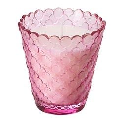 "TIDSENLIG scented candle in glass, pink Diameter: 3 ¼ "" Height: 3 ¼ "" Burning time: 25 hr Diameter: 8 cm Height: 8 cm Burning time: 25 hr"
