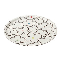 BÄRBAR tray, white, flowers Diameter: 43 cm
