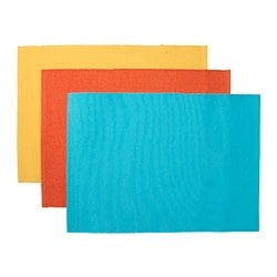 "MÄRIT place mat, turquoise, yellow-orange Length: 18 "" Length: 45 cm"