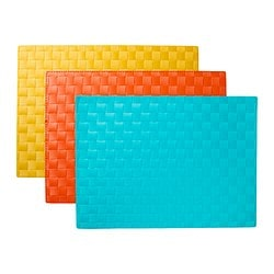 ORDENTLIG set de table, turquoise, orange/jaune Longueur: 45 cm Largeur: 32 cm