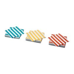 MÅTTA paper napkin, orange/yellow, striped turquoise Length: 33 cm Width: 33 cm Package quantity: 30 pieces