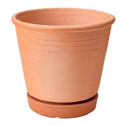 "FOTBLAD plant pot with saucer, red-brown Max. diameter inner pot: 5 ½ "" Height: 6 "" Inside diameter: 6 ¼ "" Max. diameter inner pot: 14 cm Height: 15 cm Inside diameter: 16 cm"