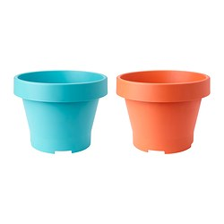 GRÄVA plant pot, orange, turquoise Outside diameter: 48 cm Height: 35 cm Inside diameter: 42 cm
