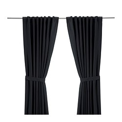 RITVA curtains with tie-backs, 1 pair, black Length: 300 cm Width: 145 cm Area: 4.35 m²