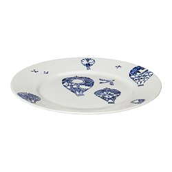 "PROMENAD side plate, dark blue, white Diameter: 8 "" Diameter: 21 cm"
