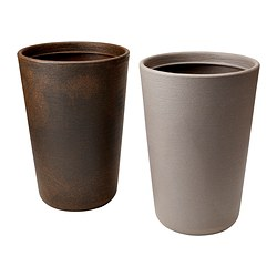 ÖSTLIG plant pot, brown, beige Outside diameter: 34 cm Height: 50 cm Inside diameter: 32 cm