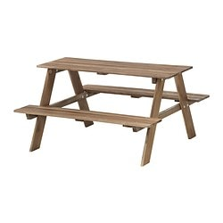 RESÖ children's picnic table, grey-brown grey-brown stained Length: 92 cm Width: 89 cm Height: 49 cm