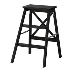 BEKVÄM, Stepladder, 3 steps, black