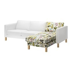 KARLSTAD cover for add-on chaise longue, Blomstermåla multicolour