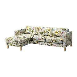 KARLSTAD two-seat sofa and chaise longue, Blomstermåla multicolour Width: 244 cm Min. depth: 93 cm Max. depth: 158 cm