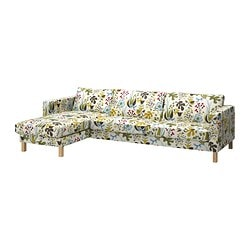 KARLSTAD three-seat sofa and chaise longue, Blomstermåla multicolour Width: 282 cm Min. depth: 93 cm Max. depth: 160 cm
