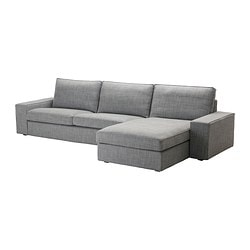 KIVIK three-seat sofa and chaise longue, Isunda grey Max. width: 318 cm Min. depth: 95 cm Max. depth: 163 cm