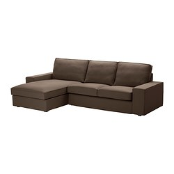 KIVIK two-seat sofa and chaise longue, Dansbo medium brown Max. width: 280 cm Min. depth: 95 cm Max. depth: 163 cm