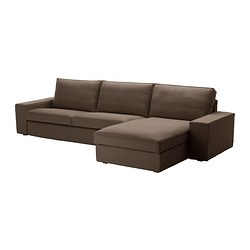 KIVIK three-seat sofa and chaise longue, Dansbo medium brown Max. width: 318 cm Min. depth: 95 cm Max. depth: 163 cm